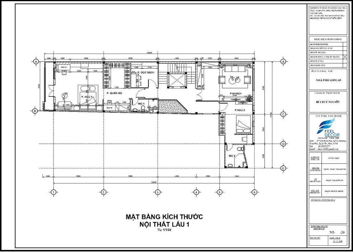 Mặt bằng thiết kế thi công nội thất nhà phố Long An