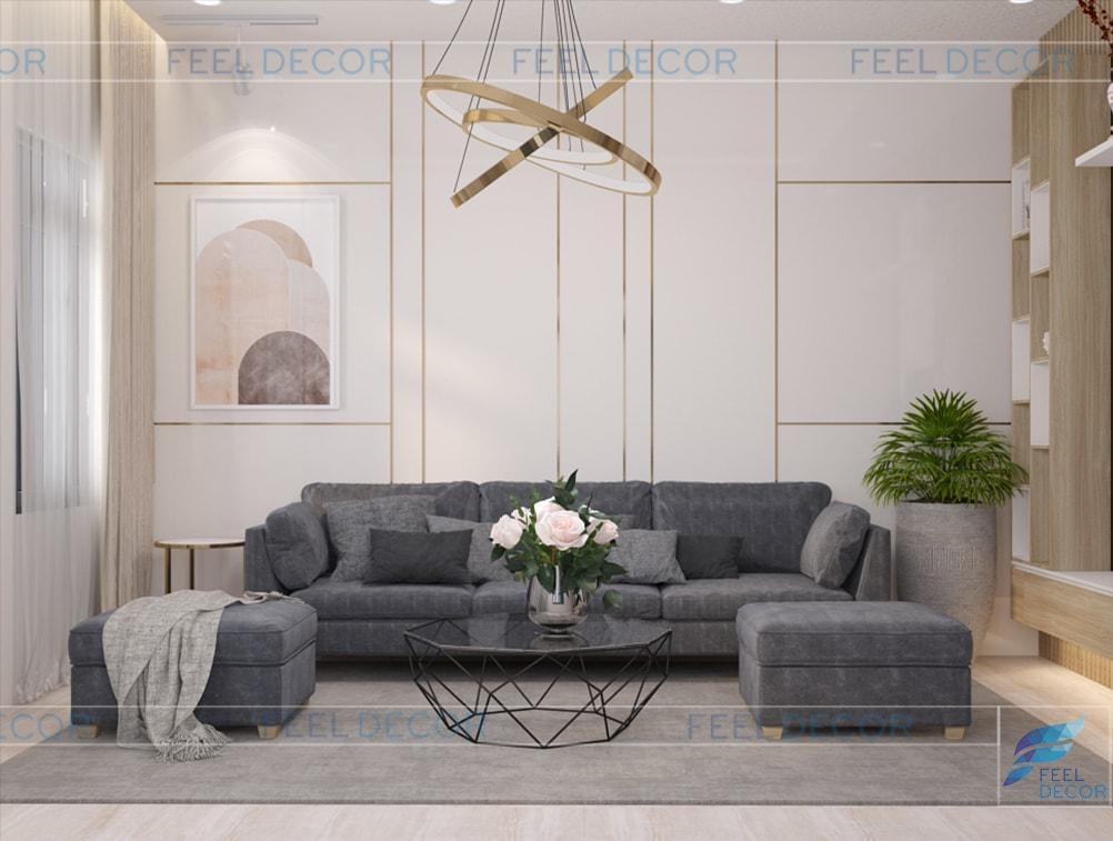 thiết kế thi công nội thất phòng khách nhà phố Long An