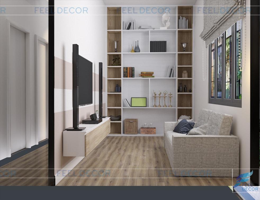 thiết kế thi công nội thất phòng sinh hoạt chung nhà phố Long An