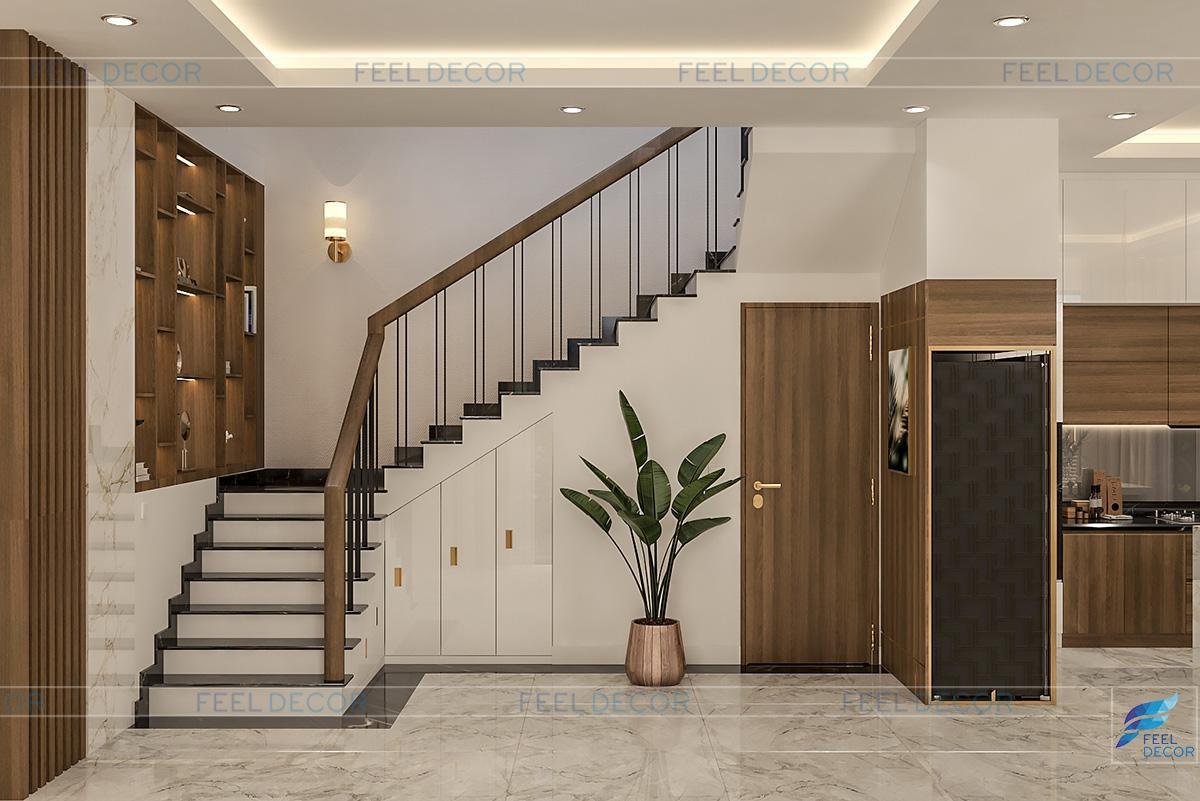 Hình ảnh 3D nội thất phòng khách nhà phố quận 9