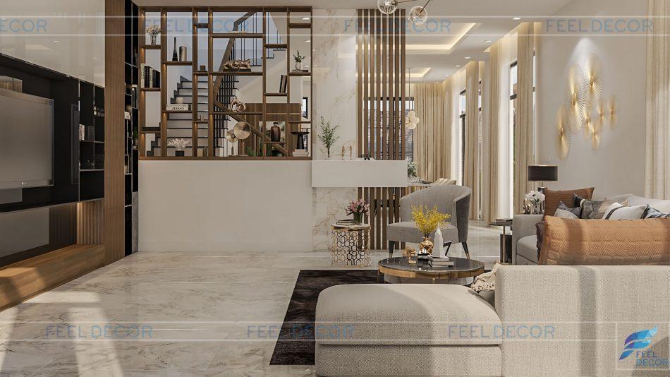 Hình ảnh 3D nội thất phòng bếp nhà phố quận 9