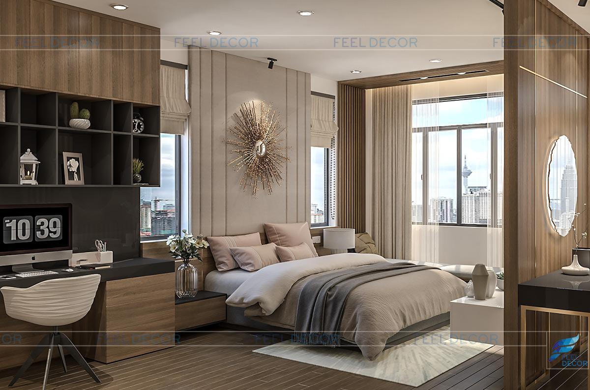 Hình ảnh 3D nội thất phòng ngủ master nhà phố quận 9