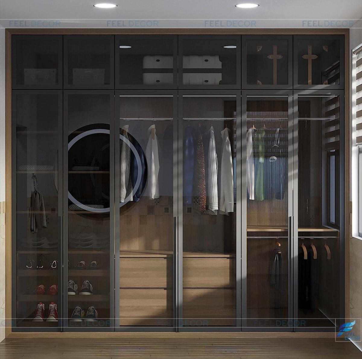 Hình ảnh 3D nội thất phòng ngủ con trai nhà phố quận 9
