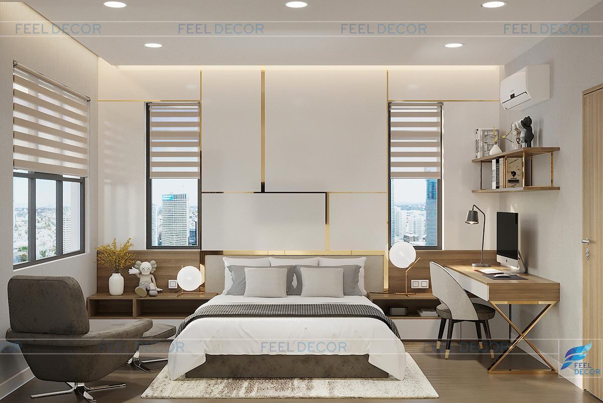 Hình ảnh 3D nội thất phòng ngủ phụ nhà phố quận 9