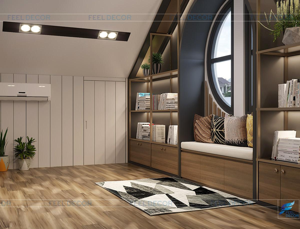 Hình ảnh 3D nội thất phòng thư giãn nhà phố quận 9
