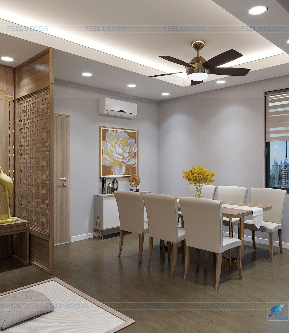 Hình ảnh 3D nội thất phòng thờ nhà phố quận 9