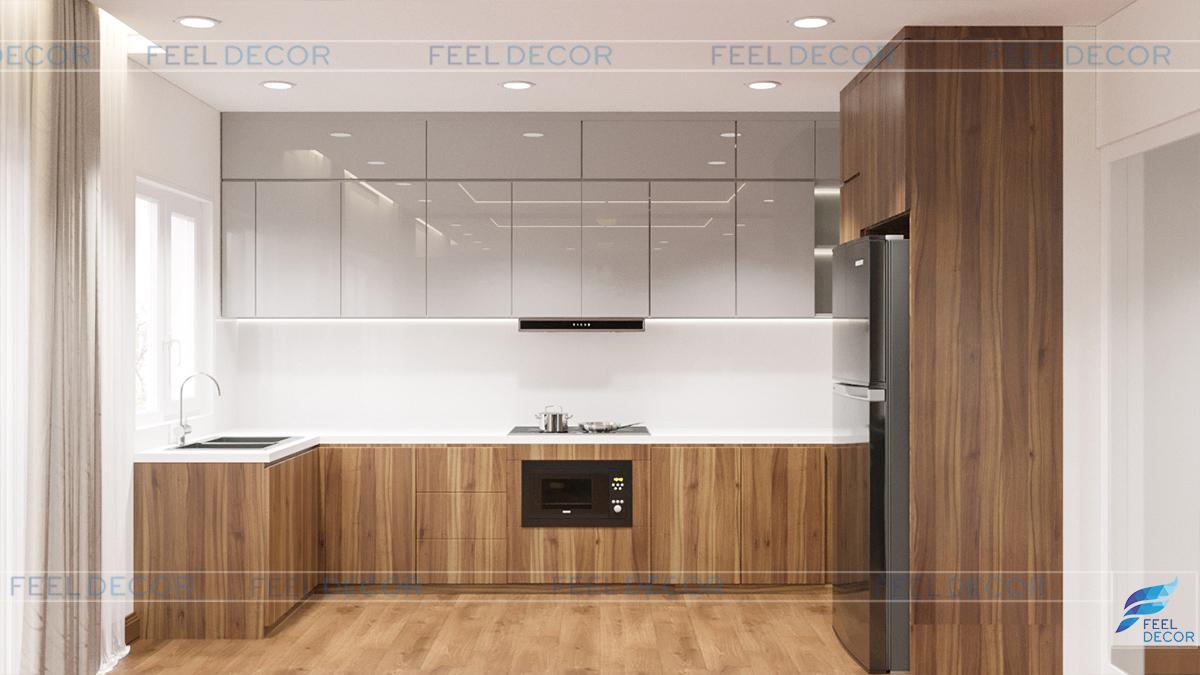 Hình ảnh 3D nội thất phòng bếp nhà phố Tân Bình