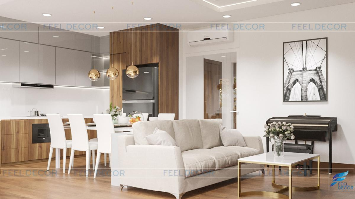 Hình ảnh 3D nội thất phòng khách nhà phố Tân Bình