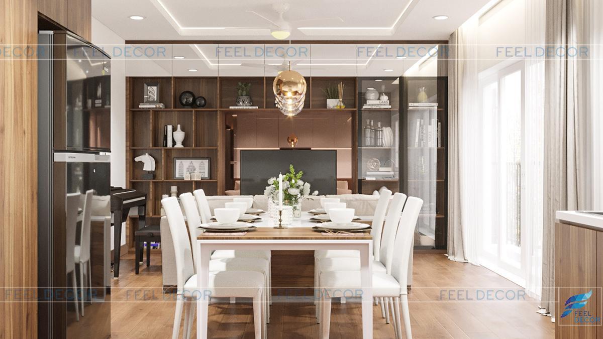 Hình ảnh 3D nội thất bàn ăn nhà phố Tân Bình