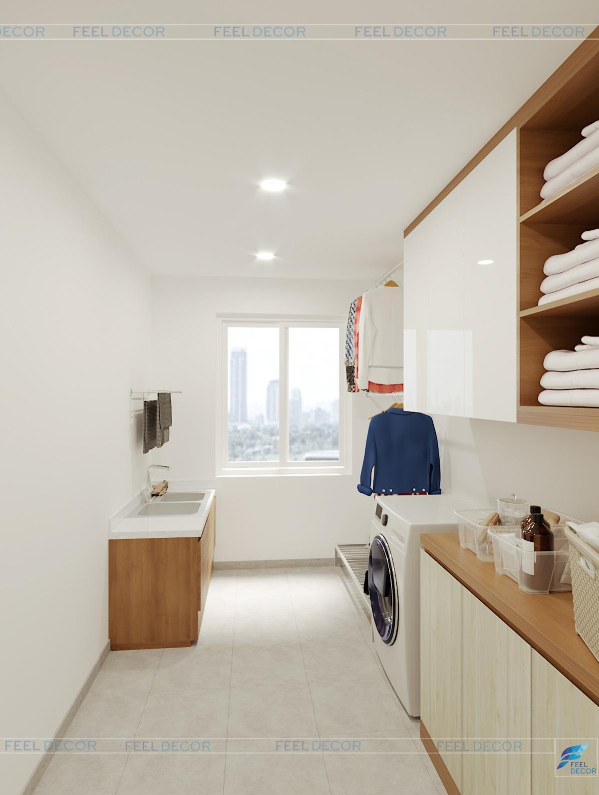Hình ảnh 3D nội thất phòng giặt phơi nhà phố Tân Bình