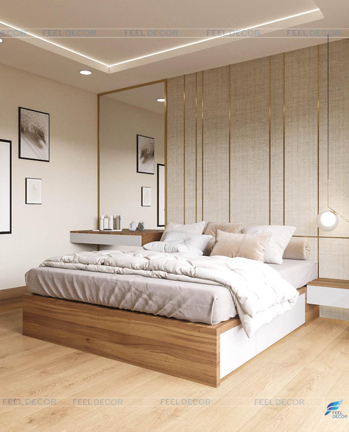 Hình ảnh 3D nội thất phòng ngủ nhà phố Tân Bình
