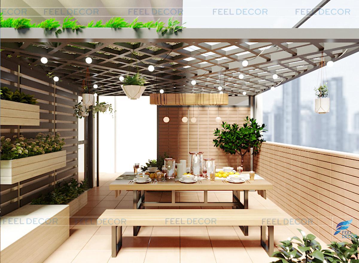 Hình ảnh 3D nội thất sân thượng nhà phố Tân Bình