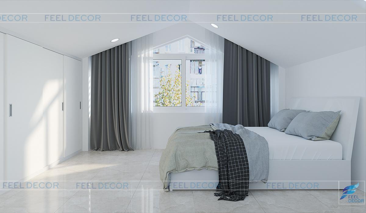 phòng ngủ ở tầng gác mái