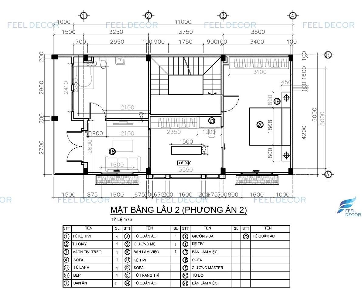 thiết kế thi công nội thất tầng 2 nhà phố thủ đức