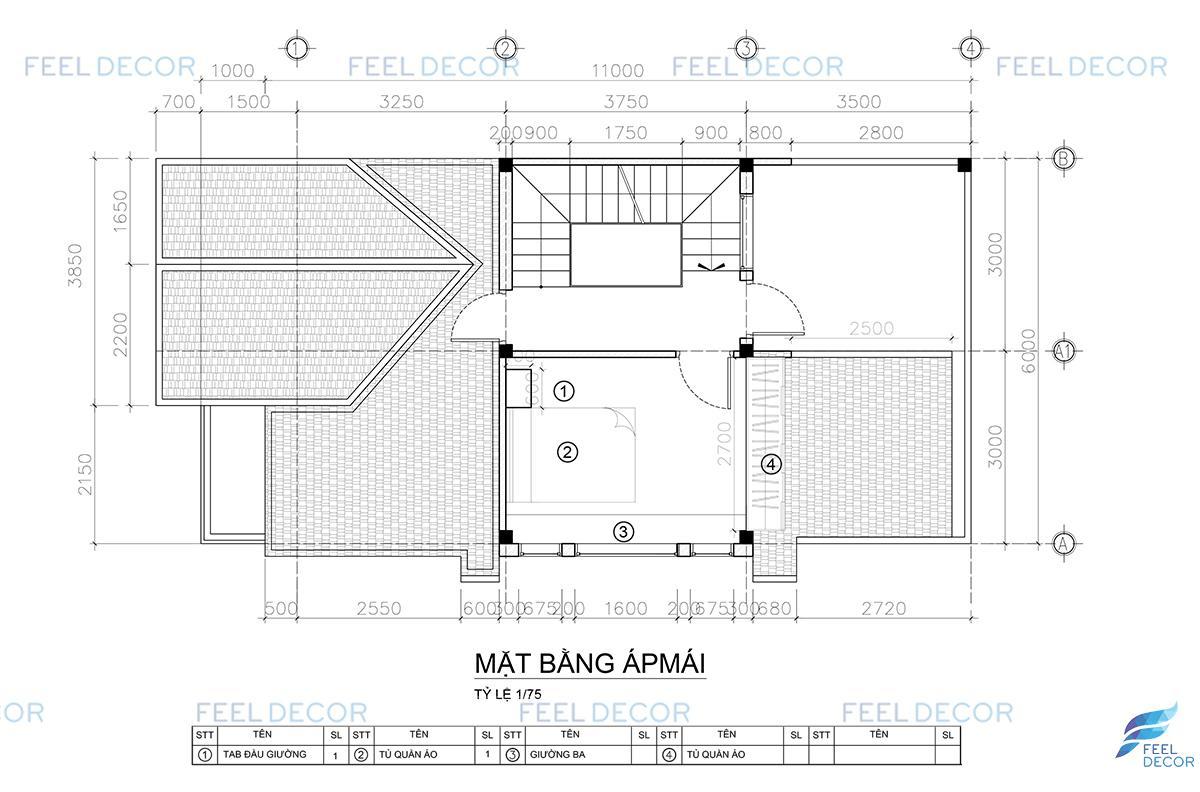 Mặt bằng thiết kế thi công nội thất gác mái nhà phố Thủ Đức.