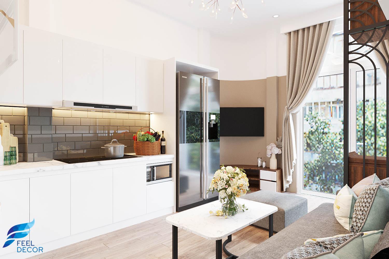 Thiết kế nội thất phòng khách, phòng bếp nhà phố quận 5