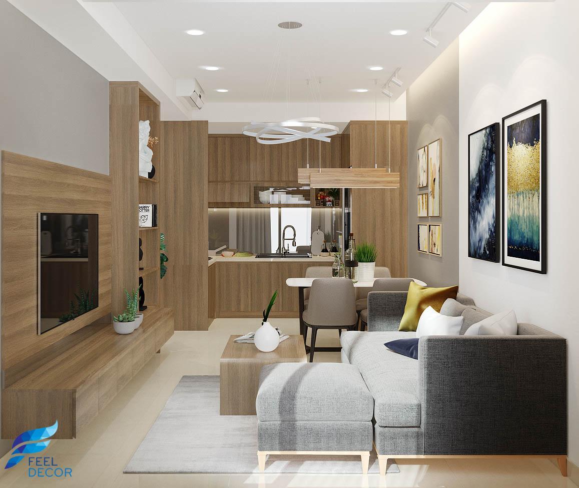 thiết kế nội thất phòng khách căn hộ Botanica Premier