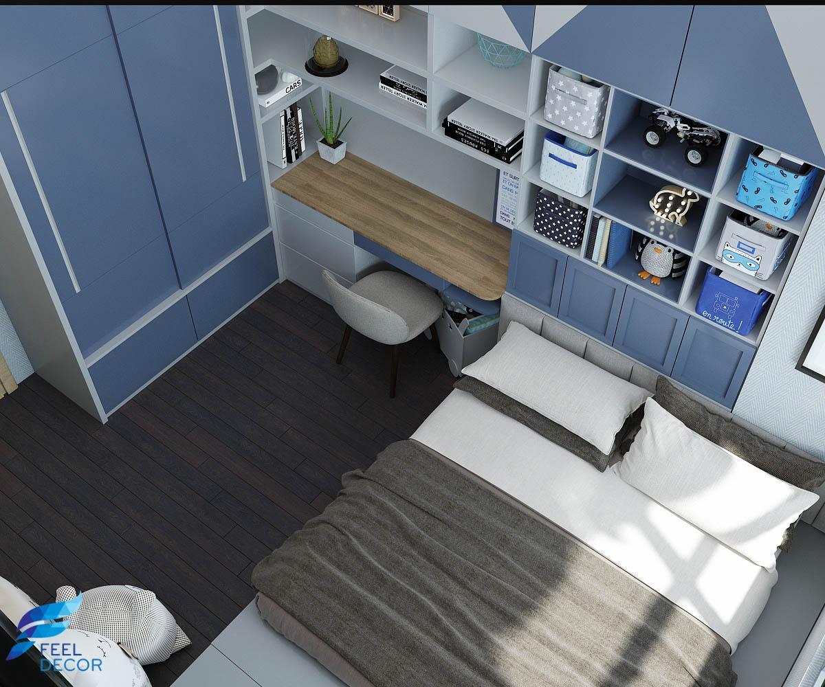thiết kế nội thất phòng ngủ bé trai căn hộ Botanica Premier