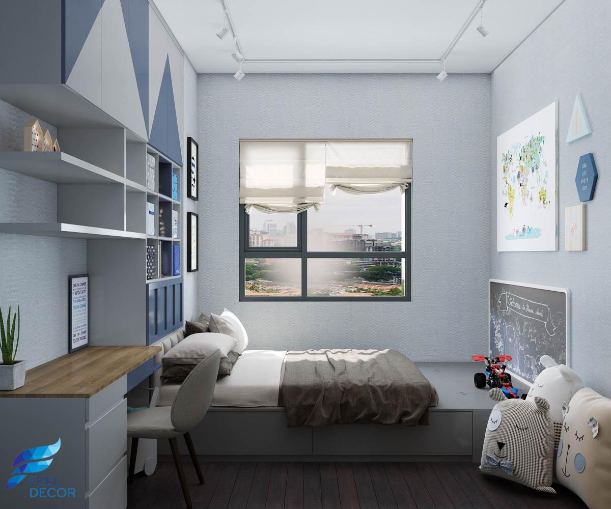 thiết kế nội thất phòng ngủ em bé căn hộ Botanica Premier