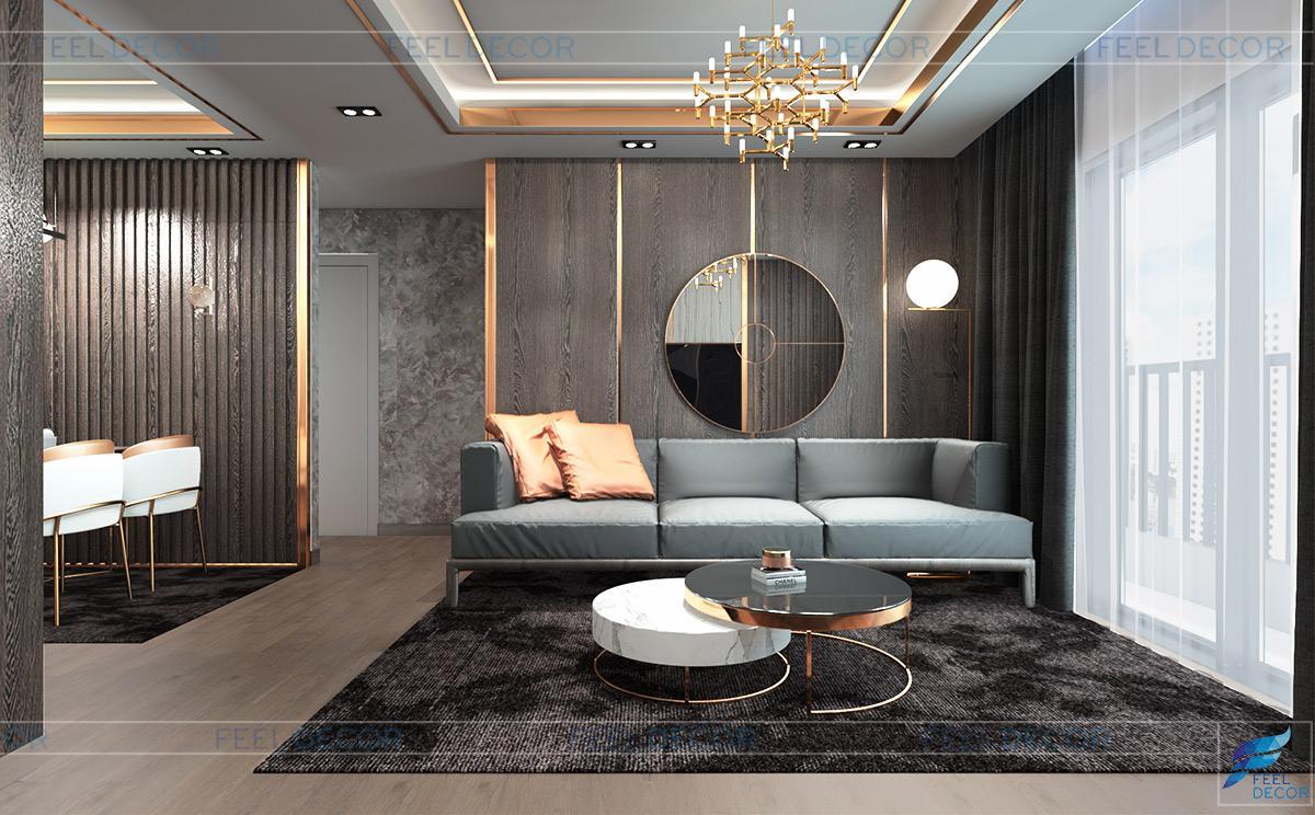 Thiết kế nội thất phòng khách căn hộ mẫu chung cư Sài Gòn South Residence
