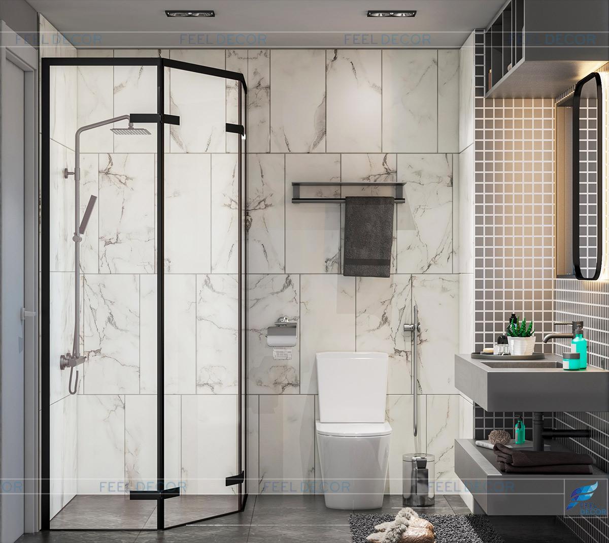 Thiết kế nội thất phòng vệ sinh căn hộ mẫu chung cư Sài Gòn South Residence