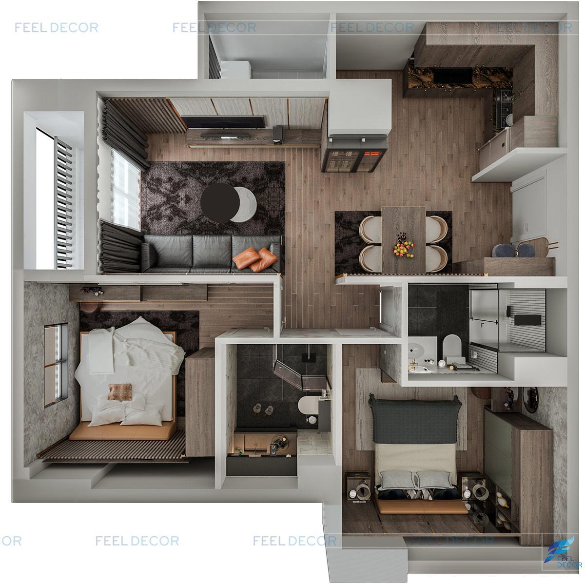 Thiết kế thi công nội thất căn hộ mẫu chung cư Sài Gòn South Residence quận 7