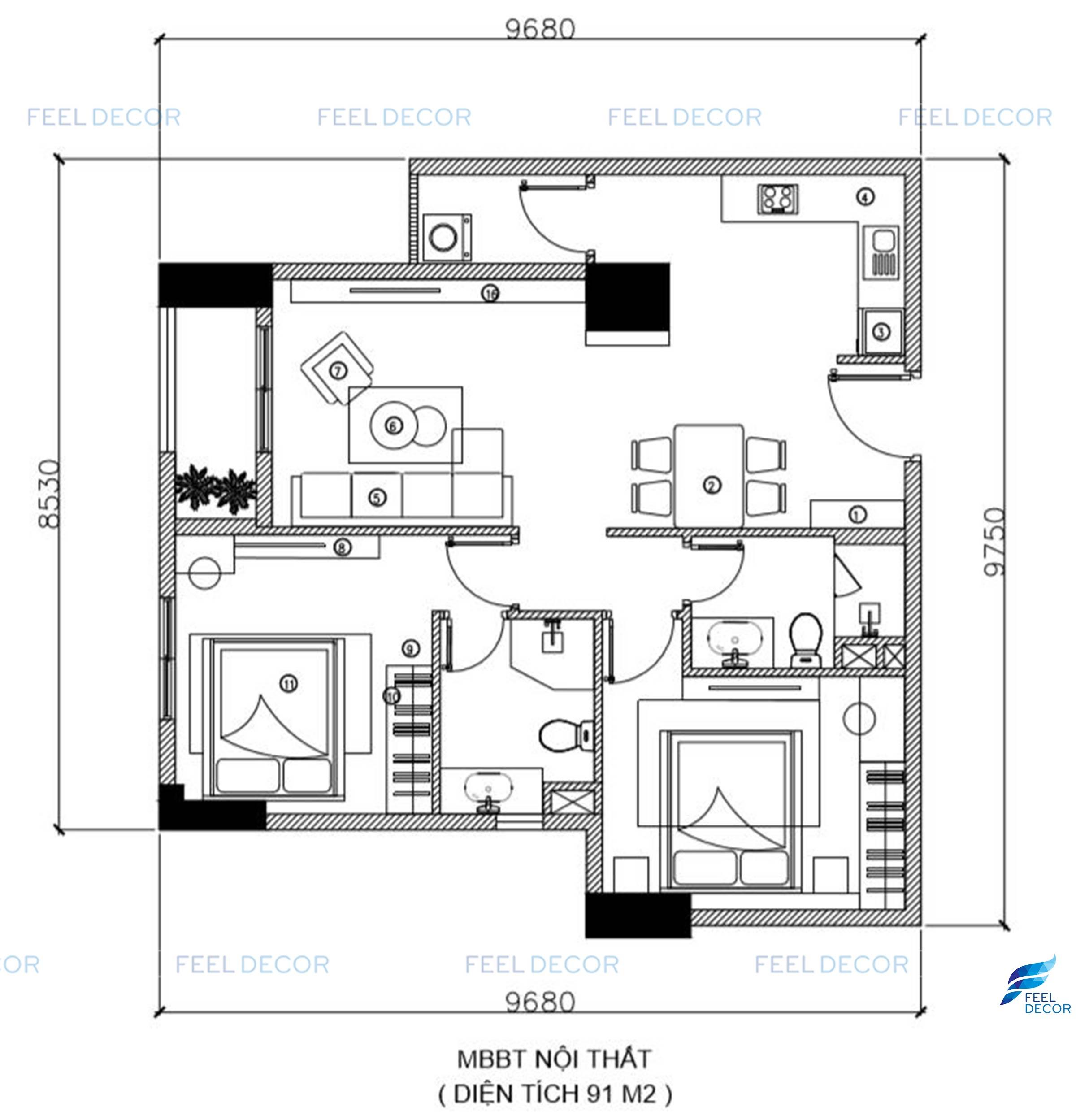 Thiết kế nội thất căn hộ mẫu chung cư Sài Gòn South Residence