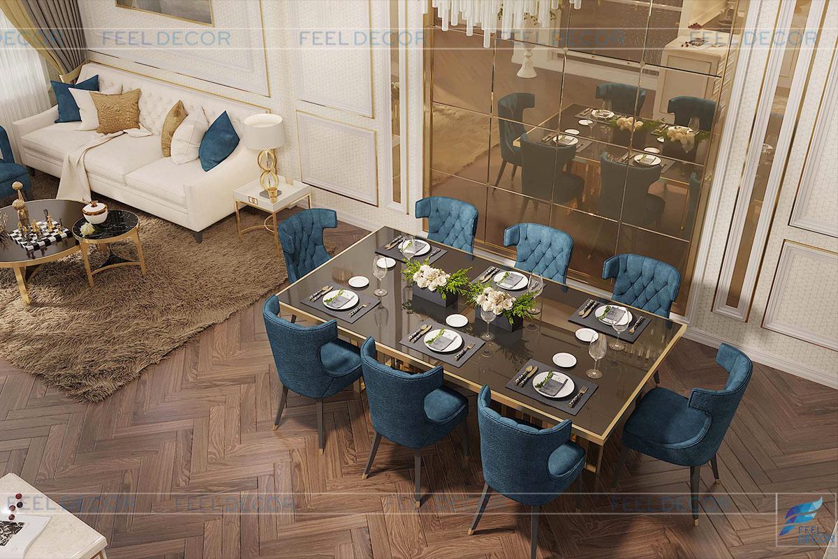 Không gian phòng khách - bàn ăn nhà phố Vạn Phúc Riverside