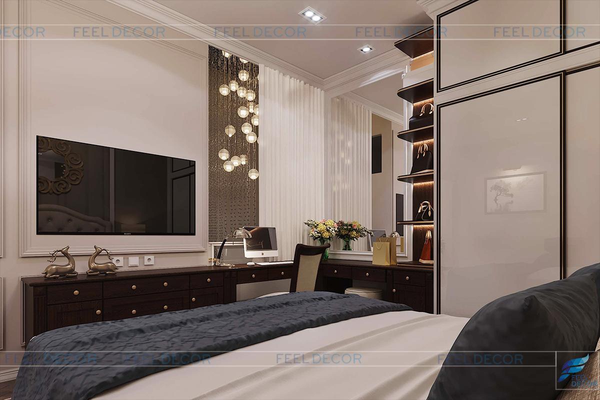 thiết kế nội thất phòng ngủ ông bà chung cư vạn phúc riverside