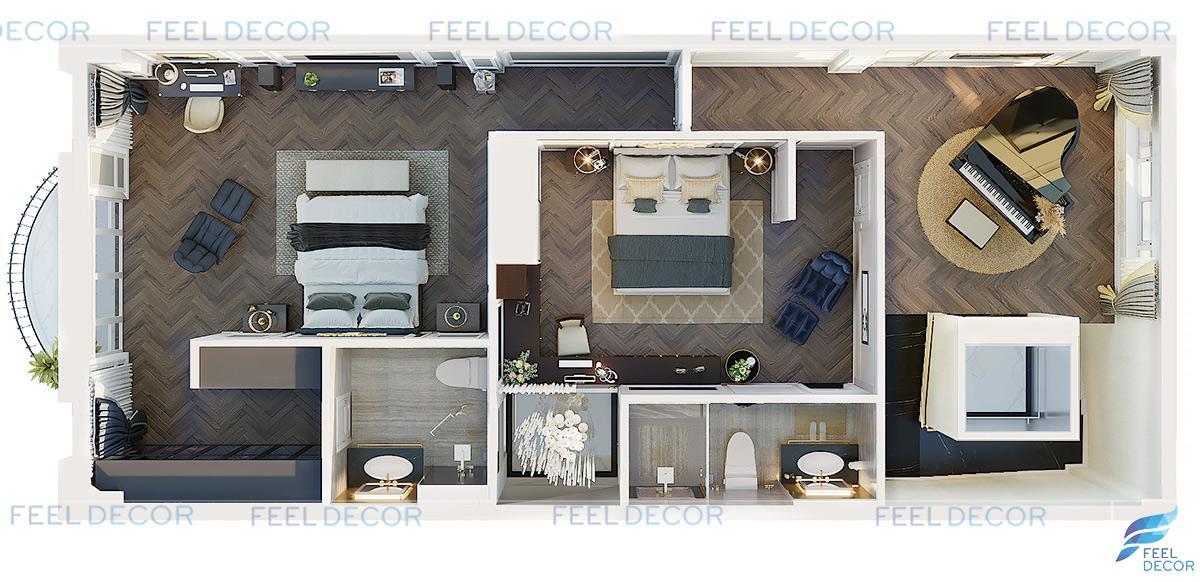 Phối cảnh thiết kế nội thất tầng 4 nhà phố Vạn Phúc Riverside