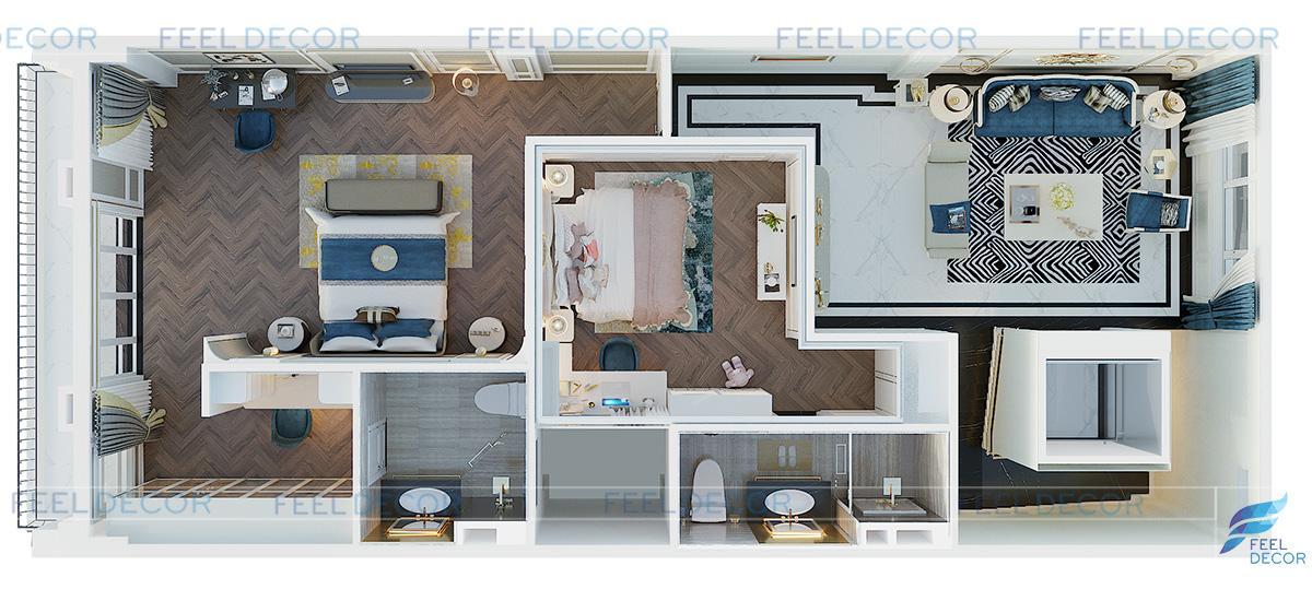 Thiết kế nội thất tầng 3 nhà phố Vạn Phúc Riverside
