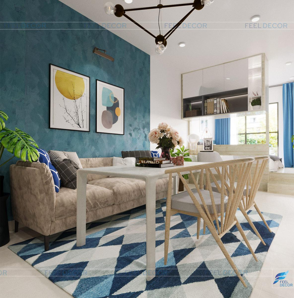 Thiết kế thi công nội thất phòng khách căn hộ chung cư Sài Gòn Royal