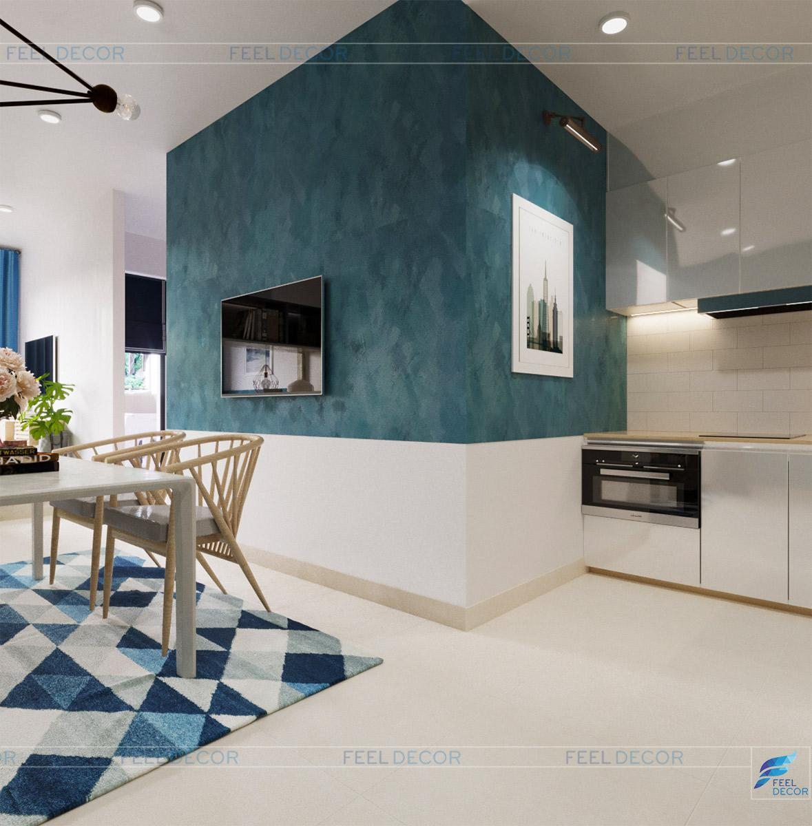 Thiết kế thi công nội thất phòng bếp căn hộ chung cư Sài Gòn Royal