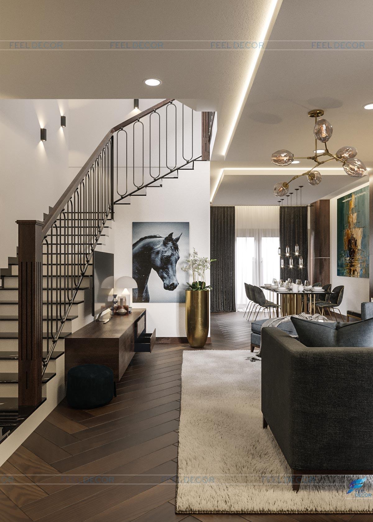 Thiết kế thi công nội thất tầng trệt căn hộ mẫu biệt thự Lavila