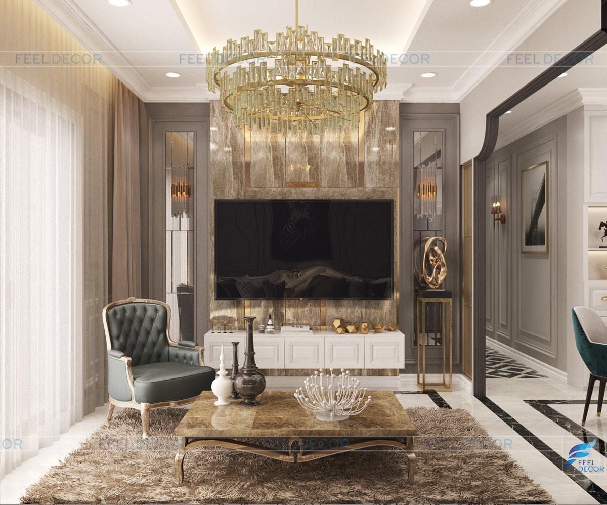 Thiết kế nội thất phòng khách căn hộ chung cư Sài Gòn South Phú Mỹ Hưng