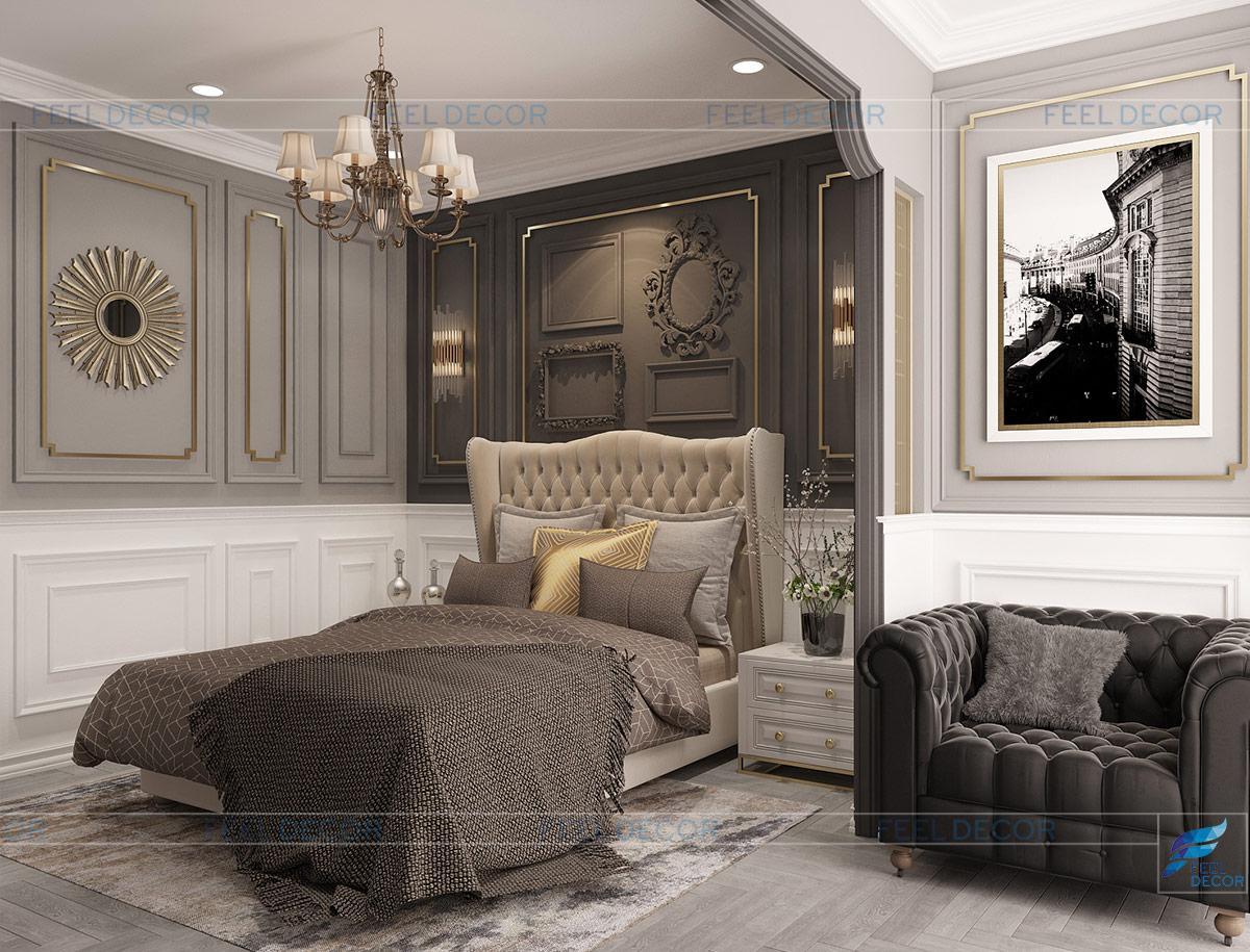 Thiết kế nội thất phòng ngủ căn hộ chung cư Sài Gòn South Phú Mỹ Hưng