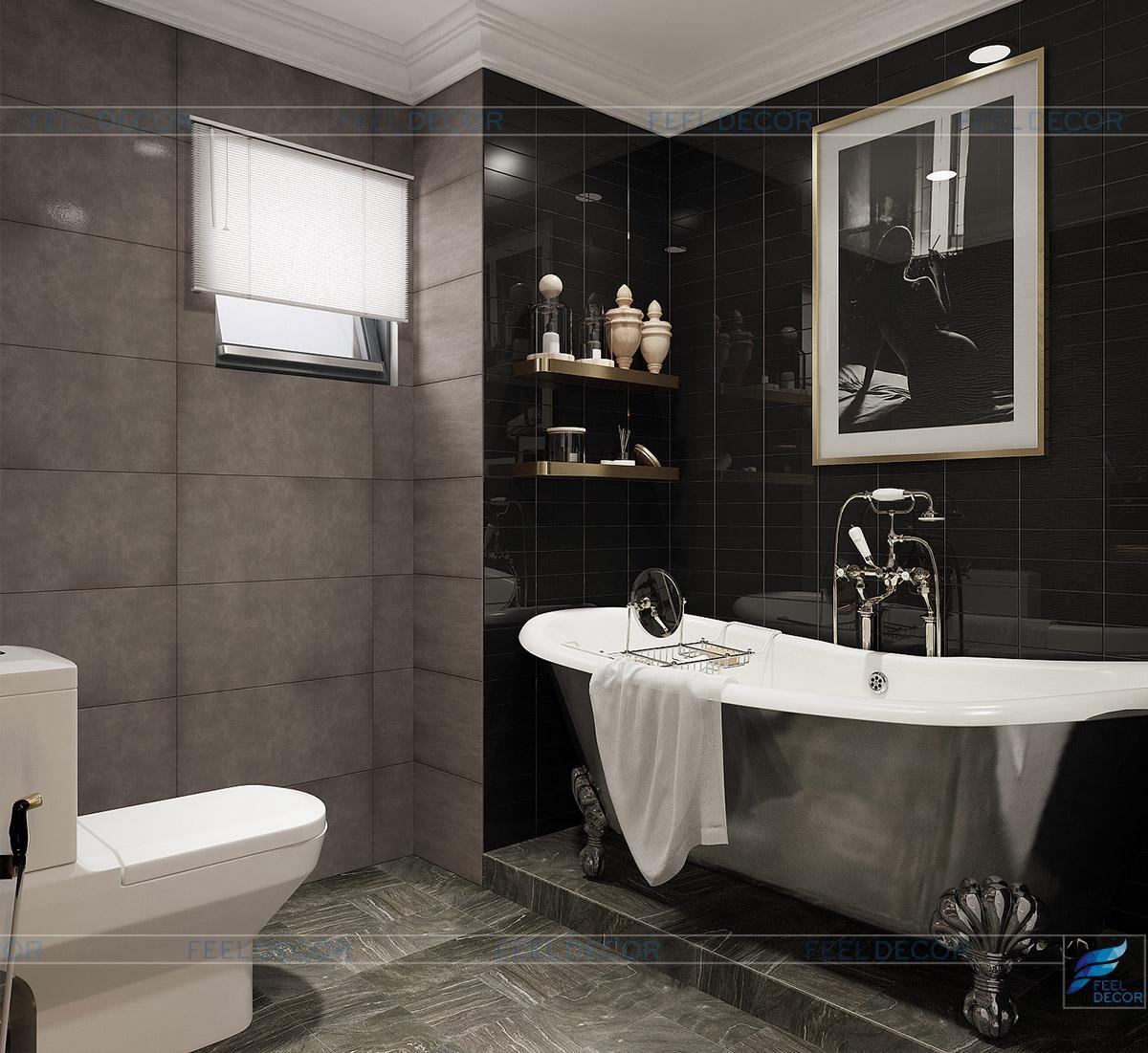 Bố trí bồn tắm lớn giúp gia chủ thư giãn thoải mái