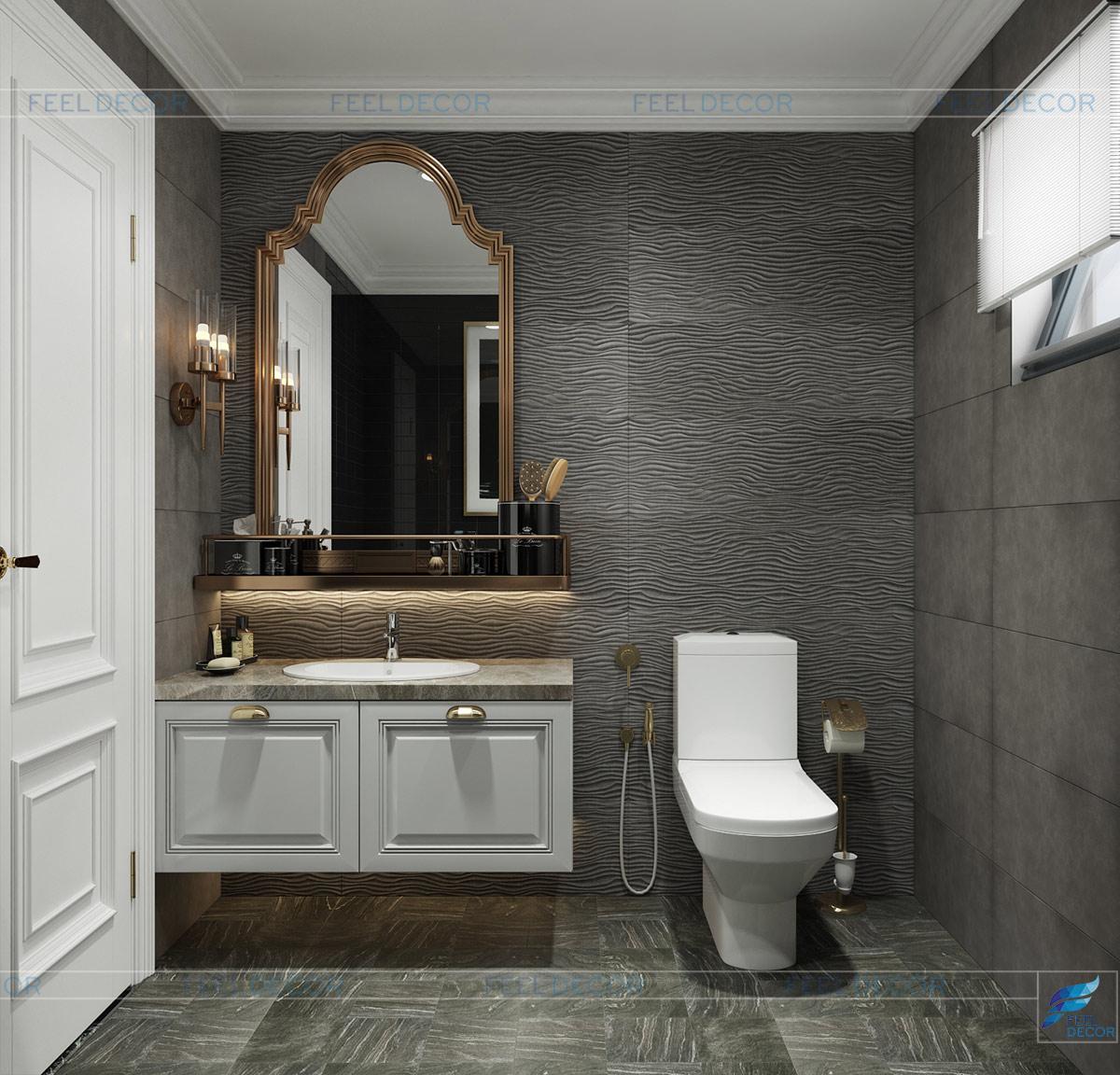 Thiết kế nội thất phòng vệ sinh căn hộ chung cư Sài Gòn South Phú Mỹ Hưng