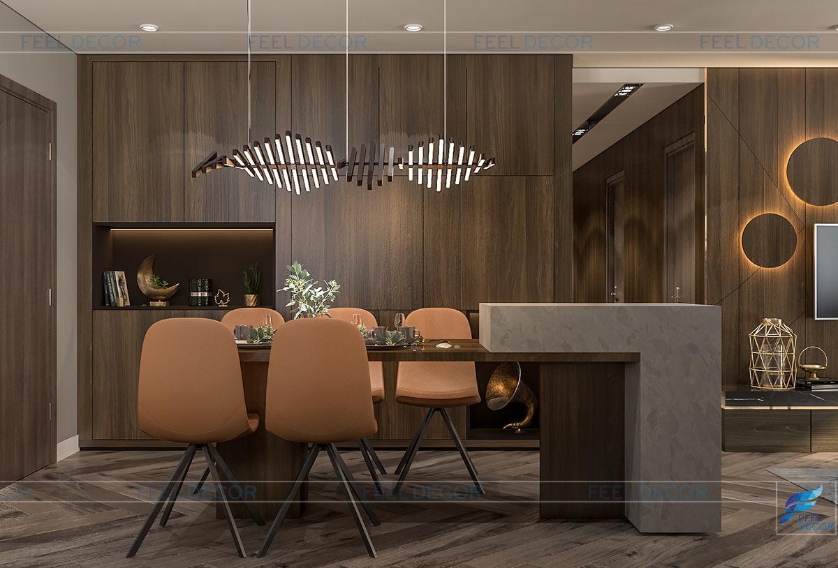 Không gian nội thất bàn ăn và quầy bếp