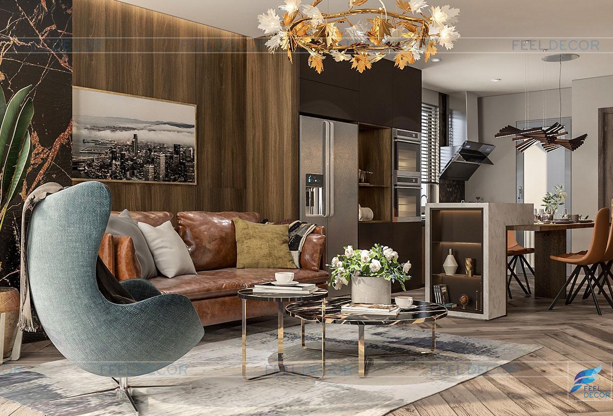 Thiết kế nội thất phòng khách chung cư Sài Gòn South Residence Nhà Bè