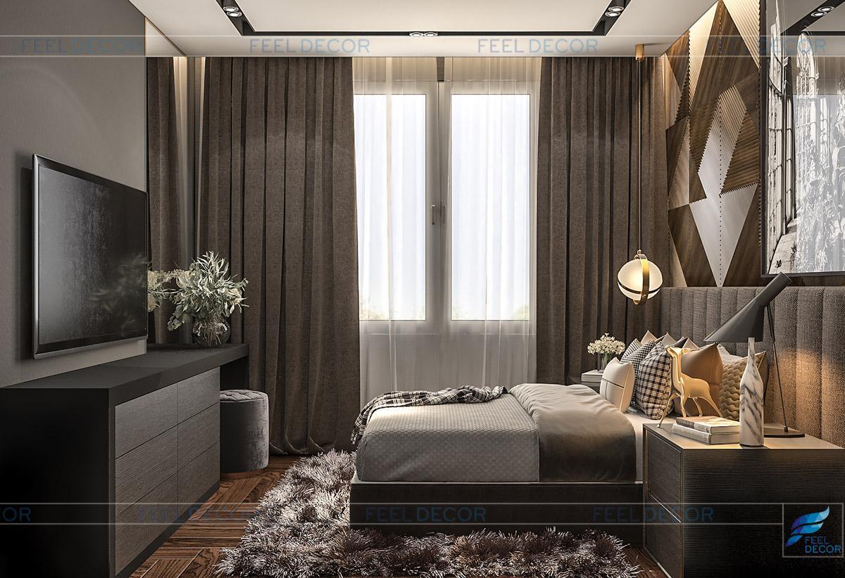 Thiết kế nội thất phòng ngủ Master chung cư Sài Gòn South Residence Nhà Bè
