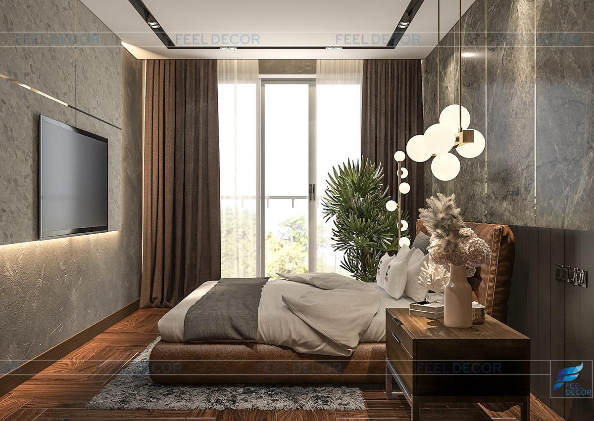 Thiết kế nội thất phòng ngủ phụ chung cư Sài Gòn South Residence quận 7