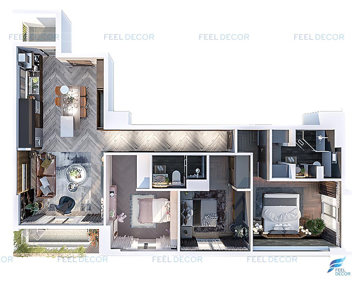 Thiết kế thi công nội thất căn hộ mẫu chung cư Sài Gòn South Residence Quận 7 Nhà Bè