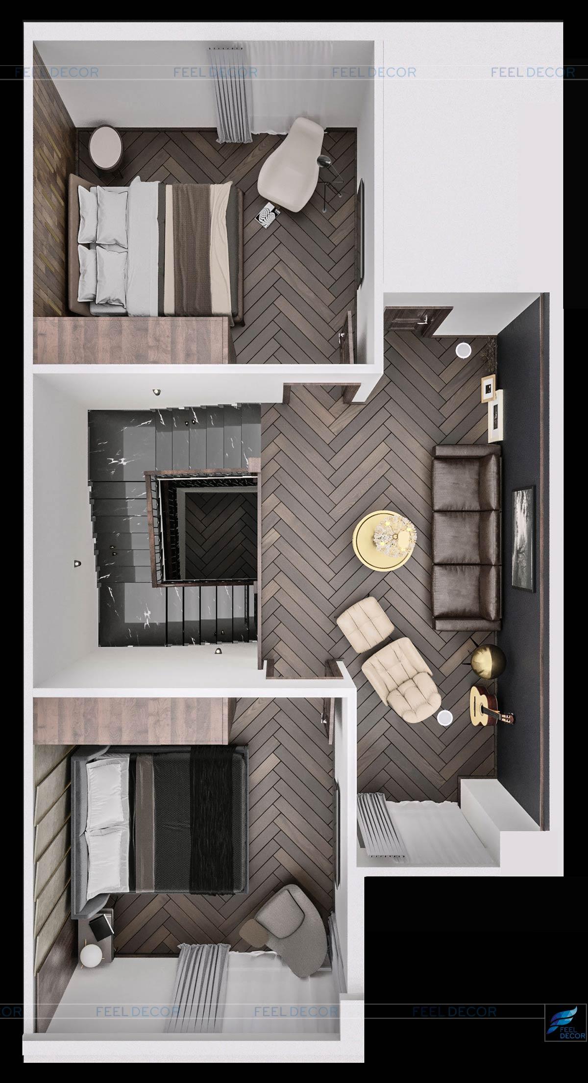 Thiết kế thi công nội thất tầng 2 căn hộ mẫu biệt thự Lavila