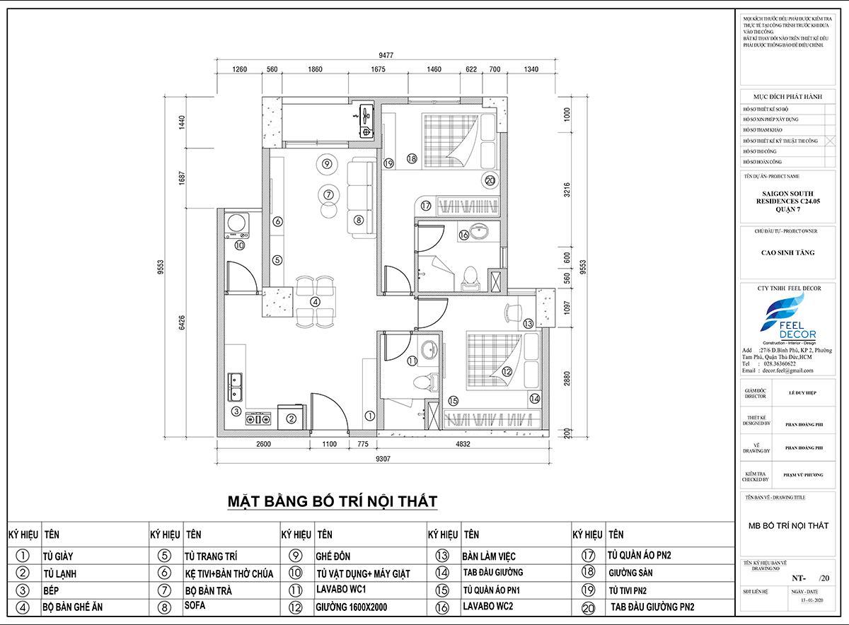 mặt bằng thiết kế nội thất chung cư Sài Gòn South Residence