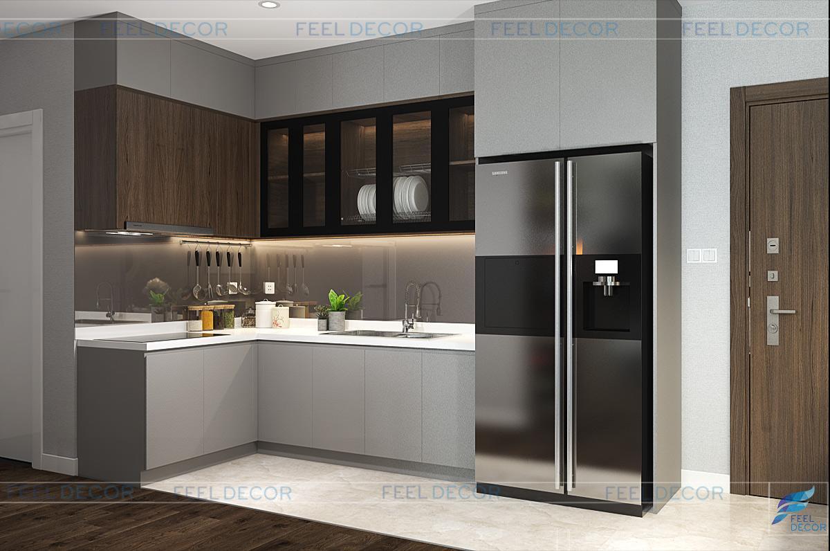 Thiết kế thi công nội thất phòng bếp căn hộ chung cư Diamond Lotus