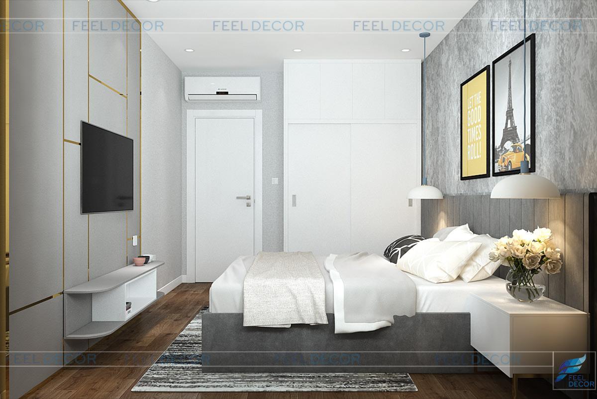 Thiết kế thi công nội thất phòng ngủ căn hộ chung cư Diamond Lotus