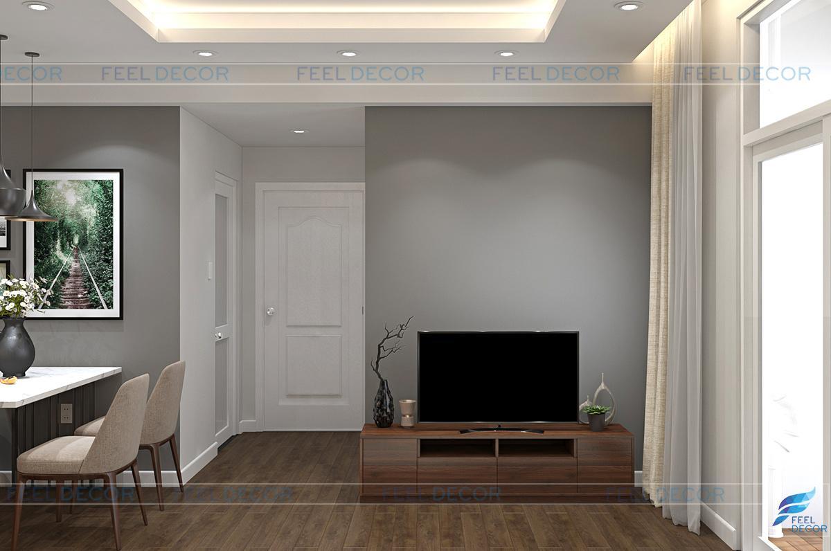 thiết kế thi công nội thất phòng khách chung cư hùng ngân garden