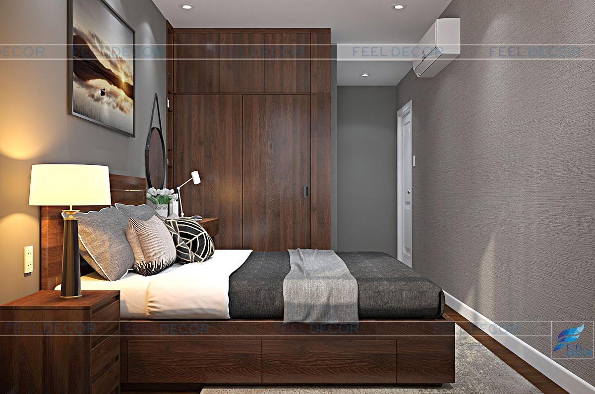 Thiết kế nội thất phòng ngủ chung cư Hưng Ngân Garden