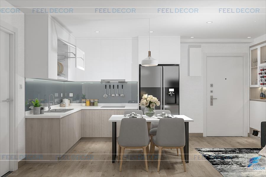 Hình ảnh 3D nội thất phòng bếp chung cư Miếu Nổi